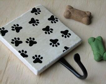 Cute Dog Paw Prints, Pet Leash Hook, Painted Ceramic Wall Tile, Fun Animal Paws Wall Hook Organizer, Key Hanger, Key Holder, Pet Accessories