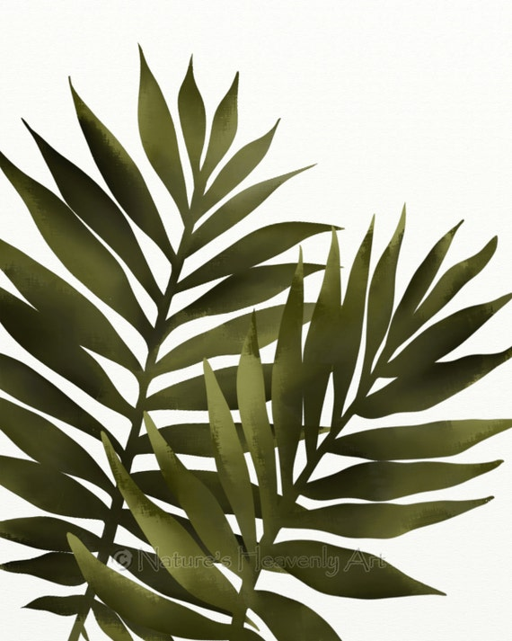 Palm leaf 8 x 10 print tropical decor green wall art for Green wall art