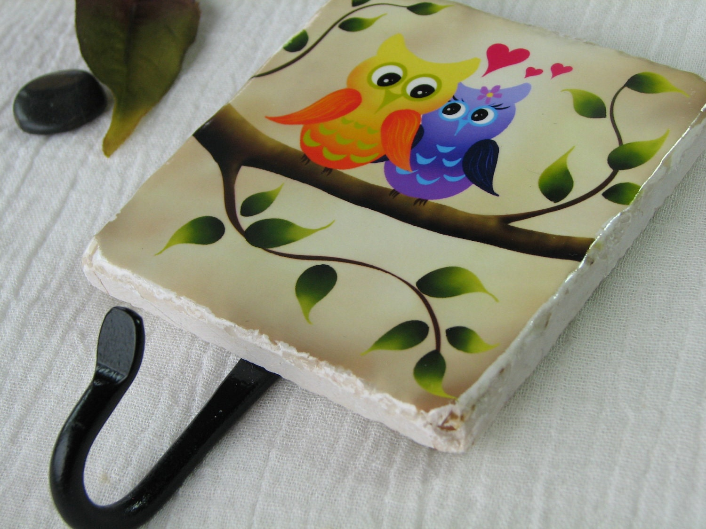 Love Owls Wall Hook Organizer Bird Art Key Rack Ceramic Tile