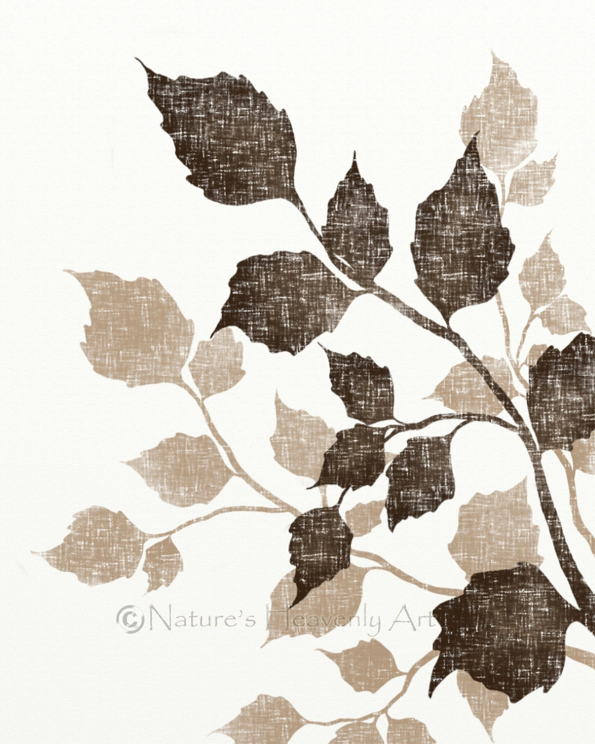 Birch tree leaf art 8 x 10 earth tone brown wall decor - Leaves paintings and drawings ...