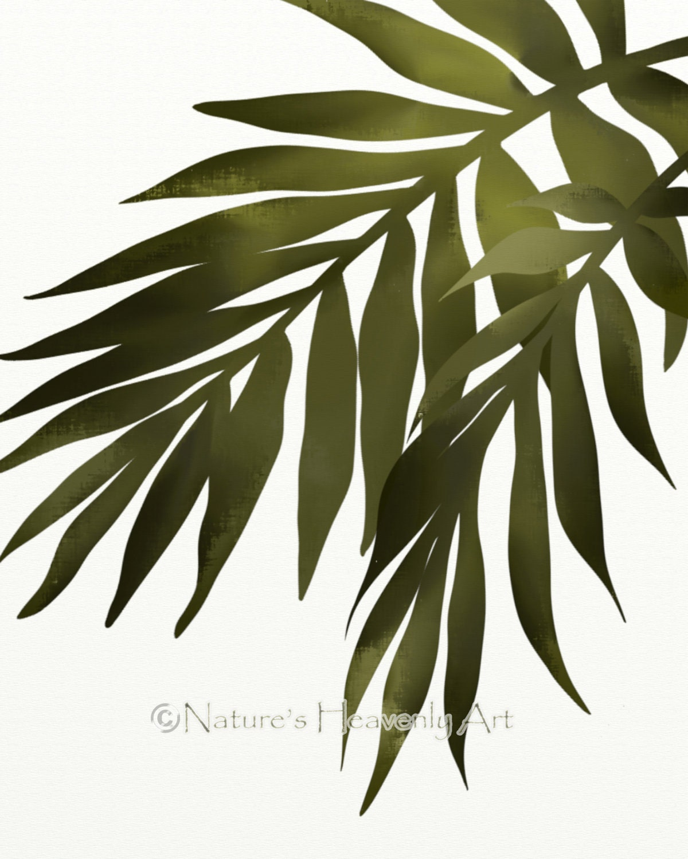 Wall art palm leaves : Palm leaf wall art print tropical decor green