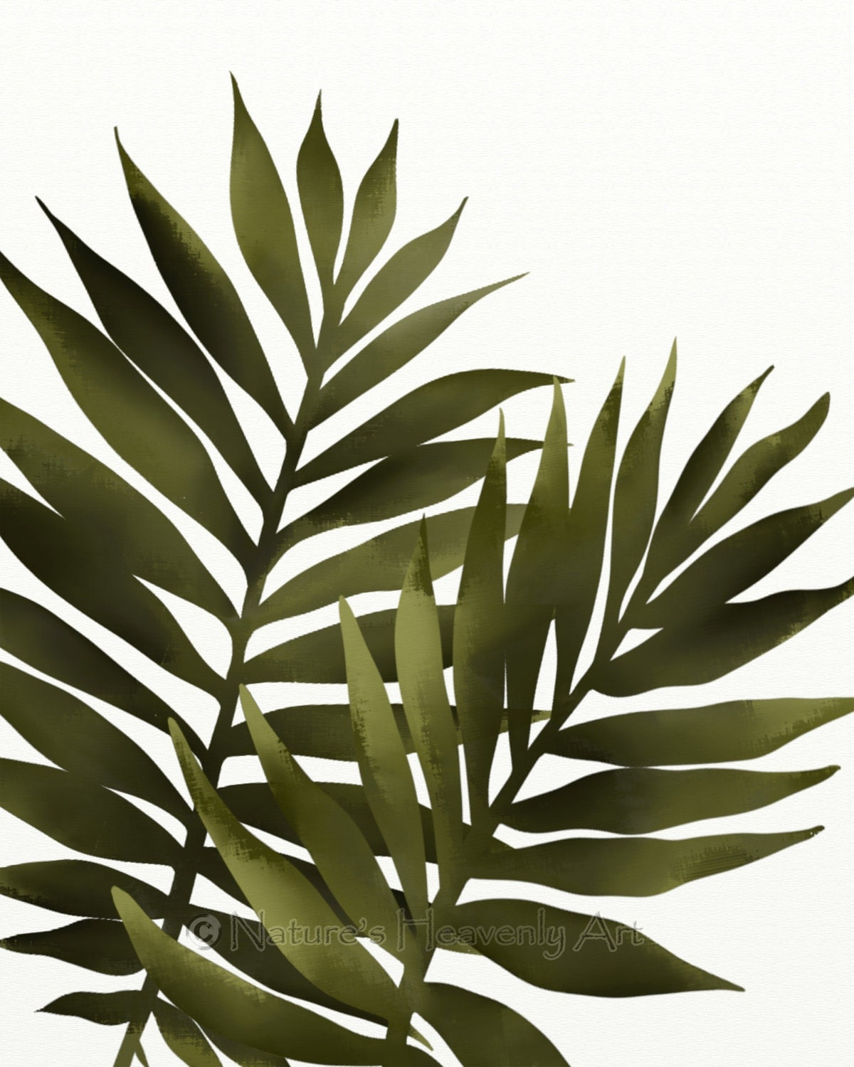 Palm leaf 8 x 10 print tropical decor green wall art for Leaf wall decor