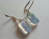 White dichroic glass fused glass earrings