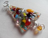 Colorful Fused glass Christmas tree pin / mini tree ornament