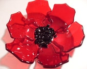 Transparent Red Fused glass Poppy Dish