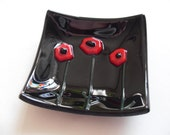 Black/red Poppy fused glass mini dish