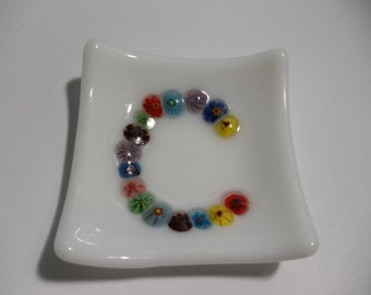 Glass fused mini dish with Initial made of glass flowers