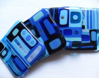 Bright Blue Fused glass coasters geometric style