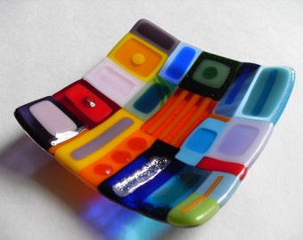 Very colorful Glass fused sushi/candy dish