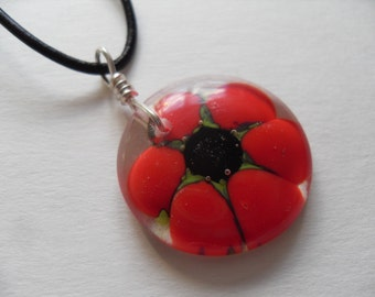 Red Daisy/Poppy flower fused glass pendant, necklace