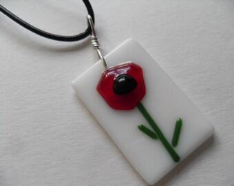 Fused Glass poppy whimsical flower pendant