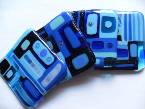 Bright Blue Fused glass coasters geometric style