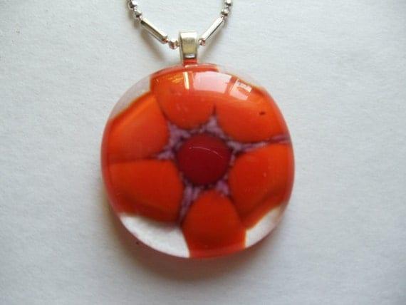 Fused Glass Bright Orange Flower Pendant
