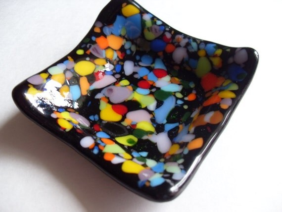 Black Colorful fused glass mini dish
