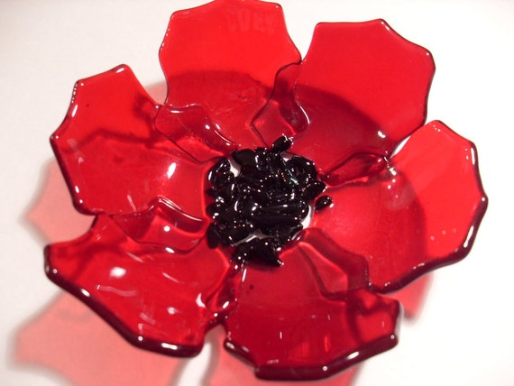 Transparent Fused glass Poppy Dish
