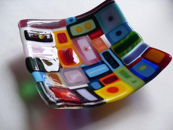 Colorful Fun Fused Glass Large dish/bowl