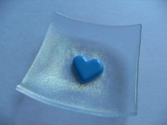 Irridescent Glass fused Valentine Heart mini dish