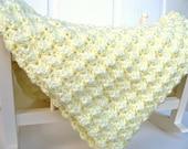 Luxurious Hand Crocheted Baby Blanket -- Lemon Custard
