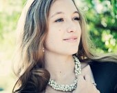 Bridal or Bridesmaids, Senior Photos, and Holiday Czech Glass Pearl Single Strand Cluster Necklace Choose your Color