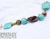 Turquoise & Bloodstone in Moss Agate Bracelet