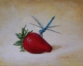 strawberry and dragonfly