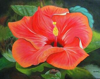 Red Hibiscus Original Art Greeting Card, Art Print Floral Greeting Card, Art Greeting Card, Blank Artwork Greeting Card