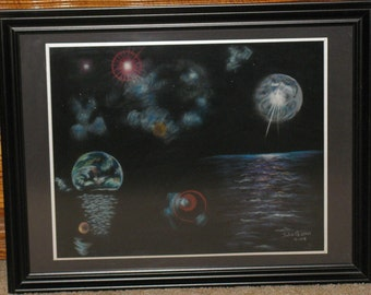 Galaxies on Black Velure - Mounted and Framed