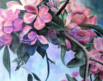 Pink Flowering Tree, Pink Flowers, Original Pastel, Pastel Pink Flowers, Pink Flowers, Pink Flowers Artwork