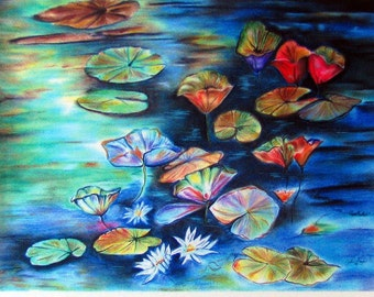 Water Lilies Pastel Art, Vibrant Water Lilies - Original Pastel, Water Lilies , Water Flowers, Floral Artwork