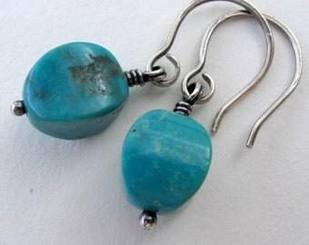 Turquoise Earrings - Green Blue Stone Earrings -  Rustic Turquoise Earrings - Oxidized Silver Earrings - Handcrafted