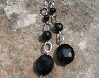 Sale: Chunky faceted, extra long statement dangle earrings in black with silver oval component