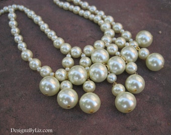 Bib of Pearls, chunky bib statement necklace for the bride