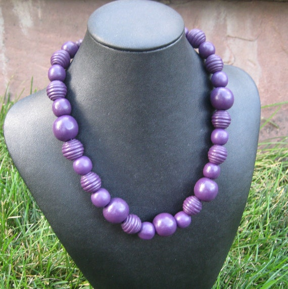 Purple Berry, Wood necklace, more colors available