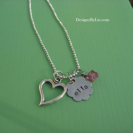 The Open Heart Necklace, personalized hand stamped flower disc with charms of your choice on silver plated ball chain