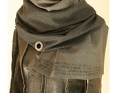 Artisanal Metal and Wool Unisex Graphite and Charcoal SCARF