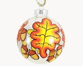 Handpainted Oak Leaf and Acorn Ornament Ready to Ship