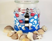 Hand Painted Lighthouses and Hearts Jar Ready to Ship