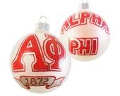 Handpainted Alpha Phi Ornament