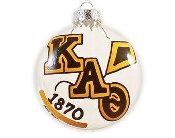 Hand Painted Kappa Alpha Theta Holiday Disc Ornament