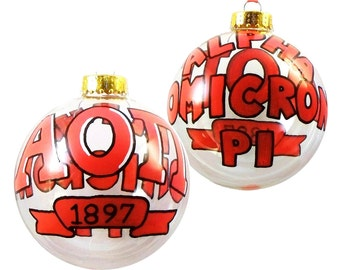 Handpainted Alpha Omicron Pi Holiday Ornament