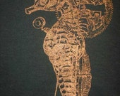 Steampunk Seahorse Silkscreen Shirt - women's medium