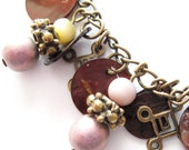 Pink and Brown Brass Greek Key Bracelet