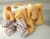 ButterScotch Plaid Ruffles Neck Wrap Hand Knitted Cowl in Warm Gold Women Fashion Gifts