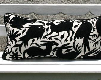 Long Black Otomi Pillow Sham-Ready to ship lumbar
