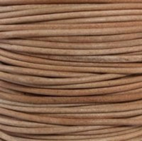 1mm  natural round soft leather cord undyed - 25 meters