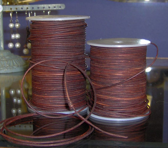 antique red brown 1.8mm natural round leather - 10 meters