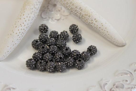 6 - 10mm pave round black diamond crystal beads