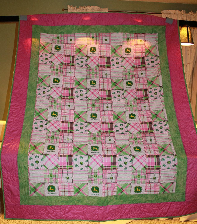 John Deere Quilt Patterns : John deere pink green twin lap quilt