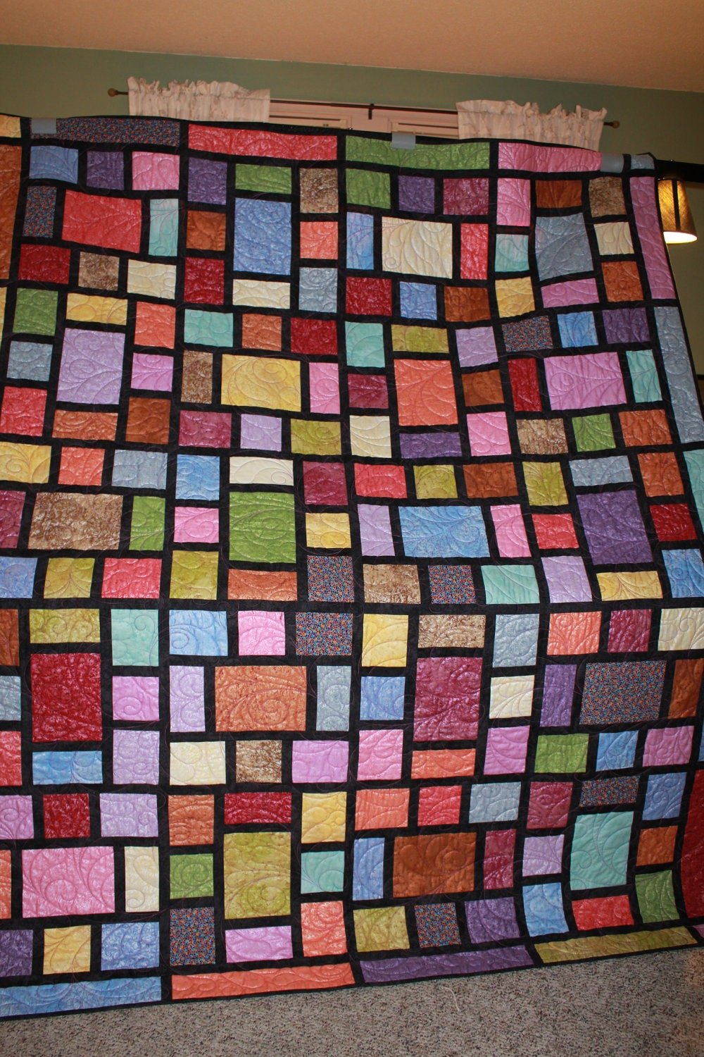 Stained Glass Colorful Queen Size Quilt