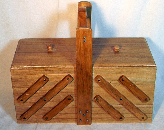 Vintage Accordion Sewing Box Table Top Type
